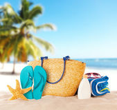 Summer beach with accessories — Stock Photo