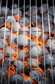 Burning grill briquettes with empty grid — Stock Photo