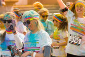 Prague, CZECH REPUBLIC - MAY 30, 2015: Prague color run 2015. People from all walks of life participated in the run of first year of Prague Color Run. — Stock Photo