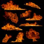High resolution fire collection on black background — Stock Photo