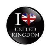 I Love United Kingdom button — Stock Photo