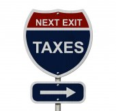 Taxes this way — Stockfoto
