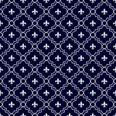 Navy Blue and White Fleur-De-Lis Pattern Textured Fabric Backgro — Stock Photo