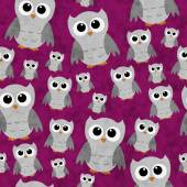 Gray Owls on Pink Textured Fabric Repeat Pattern Background — Stock Photo