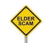 Elder Scam Warning Sign — Stock Photo