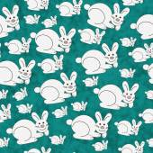 Teal and White Bunny Textured Fabric Repeat Pattern Background — Foto de Stock