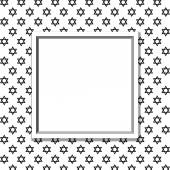 Black and White Star of David Patterned Background with Frame — Stock Photo