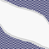 Navy Blue and White Chevron  Zigzag Frame with Torn Background — Stock Photo