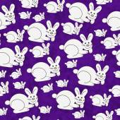Purple and White Bunny Textured Fabric Repeat Pattern Background — Stock Photo