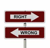 Right versus Wrong — Foto Stock