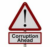 Corruption Ahead Caution Sign — Stock Photo