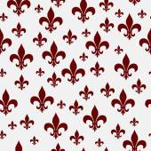 Red and White Fleur-de-lis Pattern Repeat Background — Stock Photo