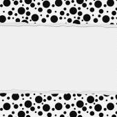 Black and White Polka Dot Frame with Torn Background — Stock Photo