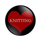 I Love Knitting button — Stock Photo