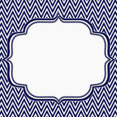 Navy Blue and White Chevron Zigzag Frame Background — Stock Photo