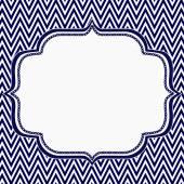 Navy Blue and White Chevron Zigzag Frame Background — Stock Photo