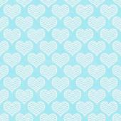 Teal and White Chevron Hearts Pattern Repeat Background — Stock Photo