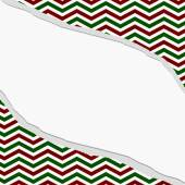 Red, Green and White Chevron Frame with Torn Background — Stock Photo