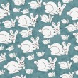 Blue and White Bunny Textured Fabric Repeat Pattern Background — Stock Photo #53288653