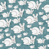 Blue and White Bunny Textured Fabric Repeat Pattern Background — Stock Photo