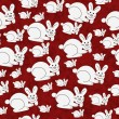 Red and White Bunny Textured Fabric Repeat Pattern Background — Stock Photo #53637835