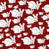 Red and White Bunny Textured Fabric Repeat Pattern Background — Stock Photo