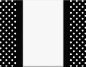 Black and White Polka Dot Frame with Ribbon Background — Stock Photo
