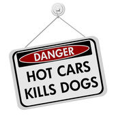 Dangers of leaving a dog in parked cars — Stock Photo