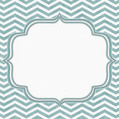 Teal and White Chevron Frame with Embroidery Background — Stock Photo