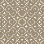 White and Brown Fleur-De-Lis Pattern Textured Fabric Background — Stock Photo