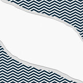 Navy Blue and White Chevron Frame with Torn Background — Stock Photo