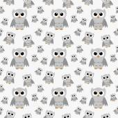 Gray Owls on White Textured Fabric Repeat Pattern Background — Stock Photo