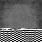 Square Black and White Zigzag Chevron Torn Grunge Textured Backg — Stock Photo