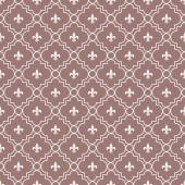 White and Maroon Fleur-De-Lis Pattern Textured Fabric Background — Stock Photo