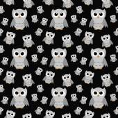 Gray Owls on Black Textured Fabric Repeat Pattern Background — Stock Photo