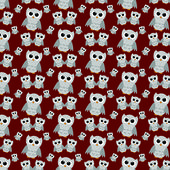 Gray Owls on Red Textured Fabric Repeat Pattern Background  — Stock Photo