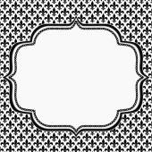Black and White Fleur De Lis Pattern Textured Fabric with Embroi — Stock Photo