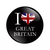 I Love Great Britain button — Stock Photo
