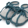Turquoise and White Hand-made baby booties — Stock Photo #58801781