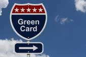 Green Card this way — Stock Photo