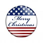 Merry Christmas USA Button — Stock Photo
