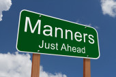 Manners Just Ahead Sign — Stock Photo