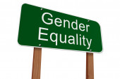Gender Quality Ahead Sign — Stock Photo