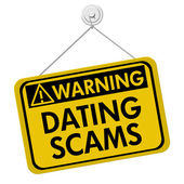 Warning of Dating Scams Sign — Stock Photo