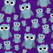 Blue Owls on Purple Textured Fabric Repeat Pattern Background — Stock Photo