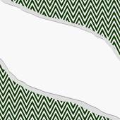 Hunter Green and White Chevron  Zigzag Frame with Torn Backgroun — Stock Photo