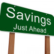 Savings Ahead Sign — Stock Photo #63879041