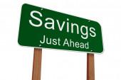 Savings Ahead Sign — Stock Photo