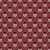Red and White Chevron Hearts Tile Pattern Repeat Background — Stock Photo