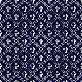 Navy Blue and White Cross Symbol Tile Pattern Repeat Background — Stok fotoğraf